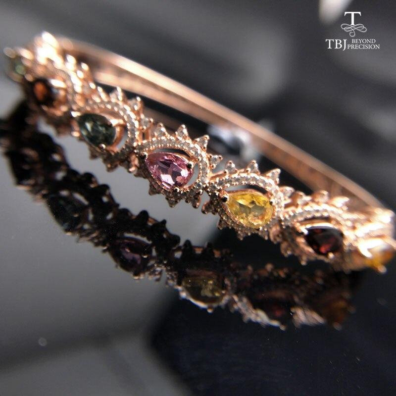 TBJ ، الإسورة الطبيعي يتوهم اللون التورمالين 3.5ct الأحجار الكريمة 925 الاسترليني الفضة غرامة مجوهرات للنساء الزفاف هدية للذكرى السنوية-في أساور وخلخال من الإكسسوارات والجواهر على  مجموعة 2