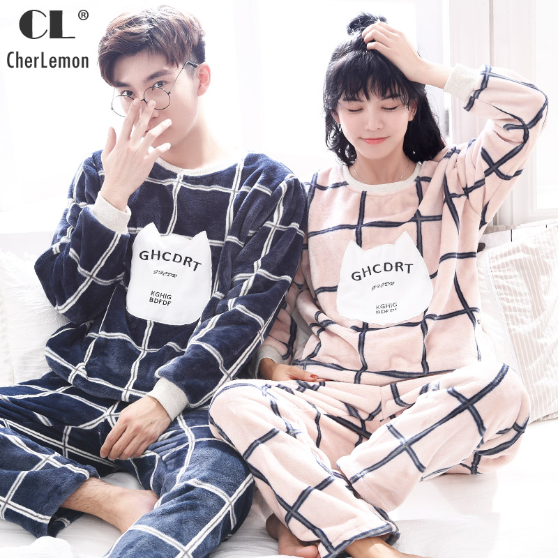 CherLemon Women Mens Flannel Pajamas Winter Thick Warm Coral Fleece Pyjamas Couples Lovely Round Neck Plaid Home Lounge Set