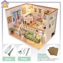 Mini Doll House Because Met You Wooden Sandbox LED Light Dollhouse DIY Toys Birthday Gifts For Children Home Decor Crafts M026(China)
