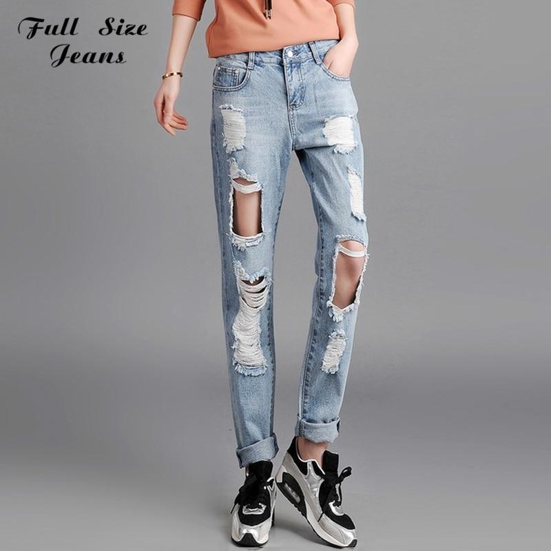 ФОТО Boyfriend Distressed Ripped Knee Holes Denim Jeans Plus Size Woman Strappati Jeans Rock Vintage Loose Ripped Pants XS XL 5XL 6Xl