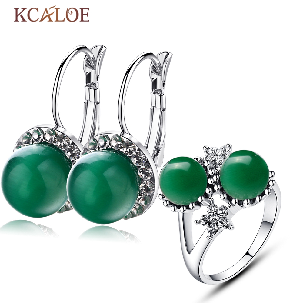 KCALOE Opal Jewelry Set Natural Green Stone Round Ball Earrings Ring Silver Plated Crystal Wedding Jewelry Sets For Brides