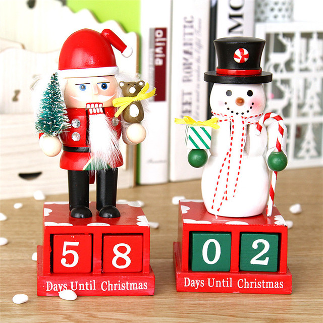 Table Decoration Mini Wooden Christmas Calendars Xmas Ornament
