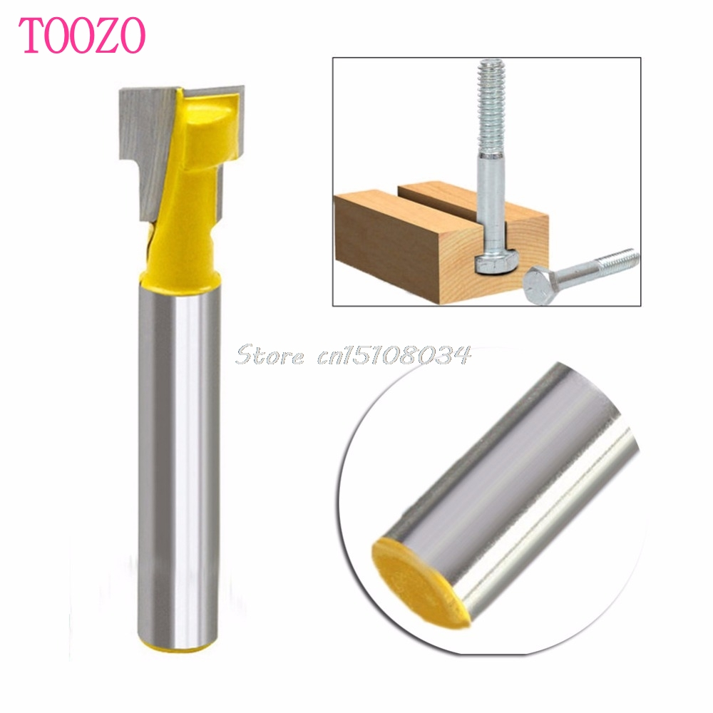 New 3/8'' T-Slot Cutter 1/4'' Shank Steel Handle Milling Woodworking Router Bit #S018Y# High Quality 2pcs milling cutters 3 8 t slot cutter 1 4 shank steel handle milling woodworking router bit yellow blue cutters for wood
