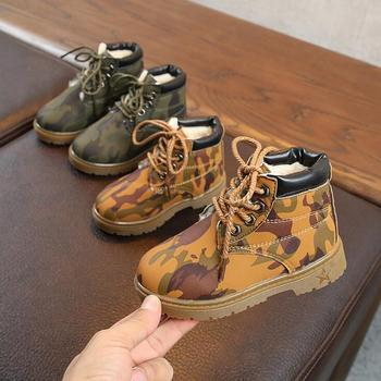 2018 winter new snow boots boys Korean version of the camouflage cotton padded warm Martin boots girl front tie warm boots фото