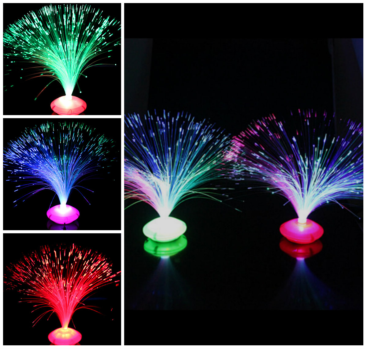 1PCS Beautiful Small Color Night Light Romantic Changing LED Fiber Optic Nightlight Lamp Chrismas Party Home Decoration