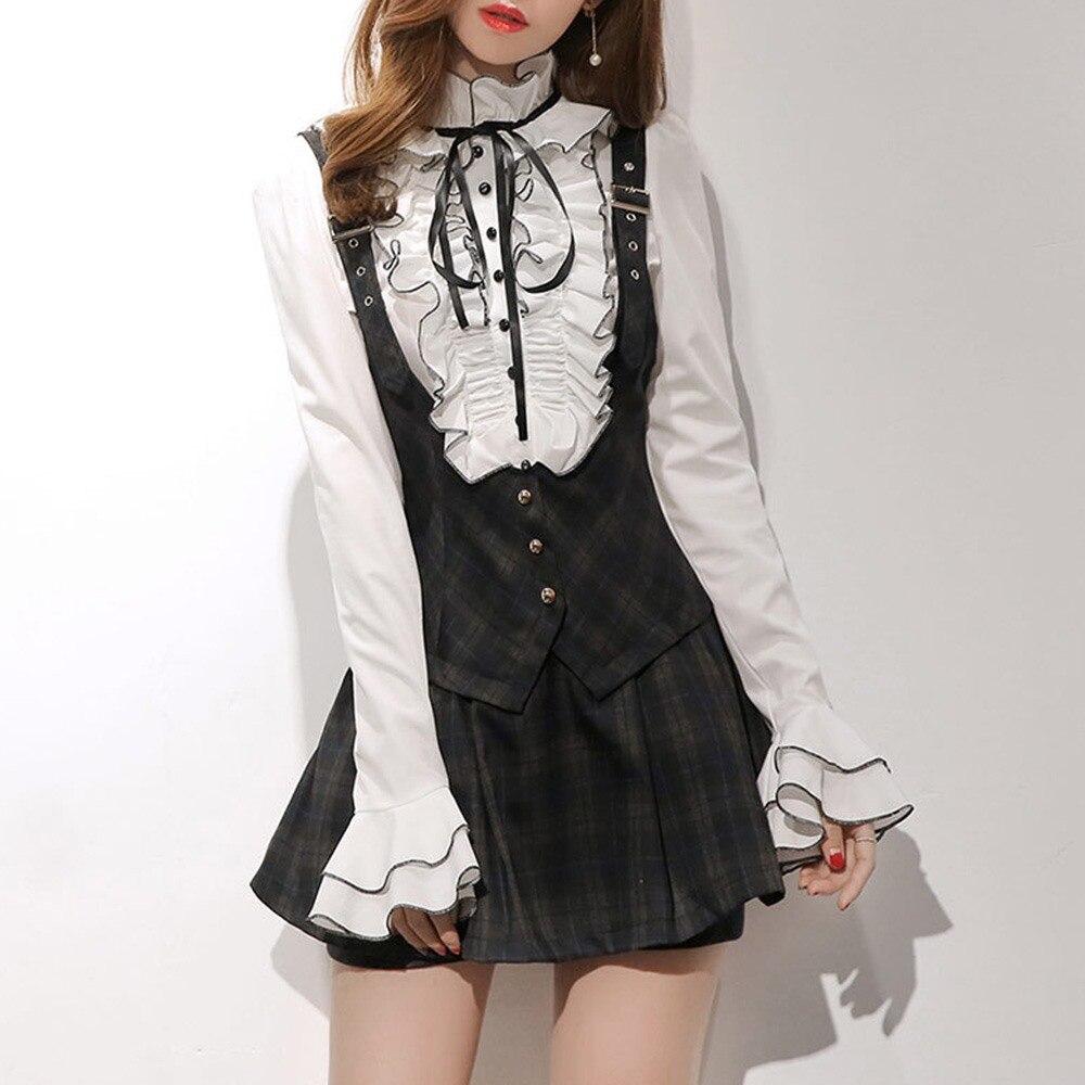 2018 Fall Gothic Office Lady Preppy Style Fashion Women Blouses Slim Ruffle Sleeve Girl Elegant Female White Korean Style Shirts