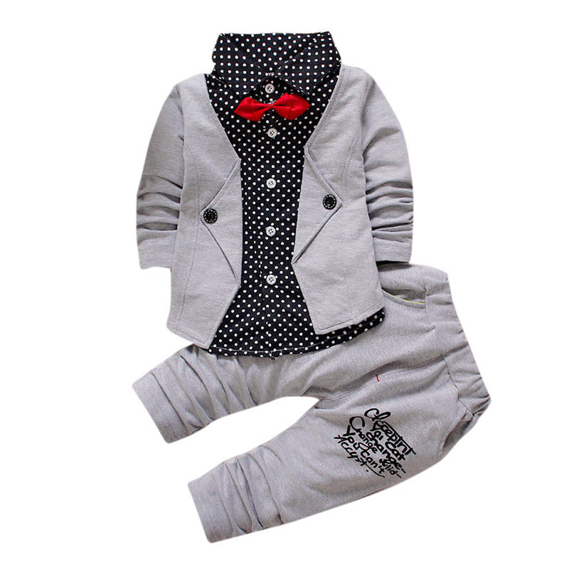 Fashion Kid Baby Boy Gentry Clothes Set Formal Party Christening Wedding Tuxedo Bow tie Long sleeve Suit Splice costume 2pcs set baby clothes set boy