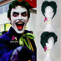 Men's Short Wavy Green Hair Joker Halloween Cosplay Costume Wig for Batman Adult Kids
