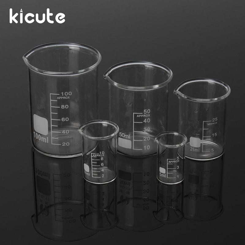 Kicute One Set Glass Beaker Set Clear 5ml 10ml 25ml 50ml 100ml
