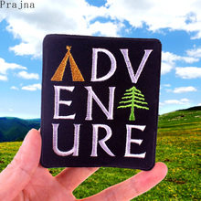 Prajna Camping Adventure Patch Iron On Embroidered Patches For Clothes Stripes Tent Pine Tree Explorer Mountain Hiking Traveling
