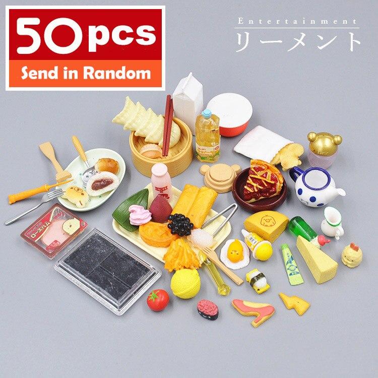 Japan Genuine Bulks 50pcs Rilakkuma Fruits Cup Tableware Milk Cake Rement Candy Food Furniture Toys Match New