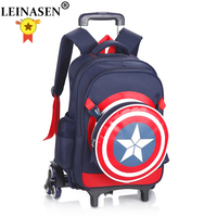 Captain America Climb the stairs luggage 3D cartoon school bag students rolling suitcase Children travel backpack shoulder bag