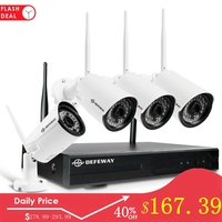 DEFEWAY Wifi CCTV System 4CH NVR H.265+ Video Surveillance System 1080P 4PCS 2MP Weatherproof Security Wireless Camera CCTV Kit