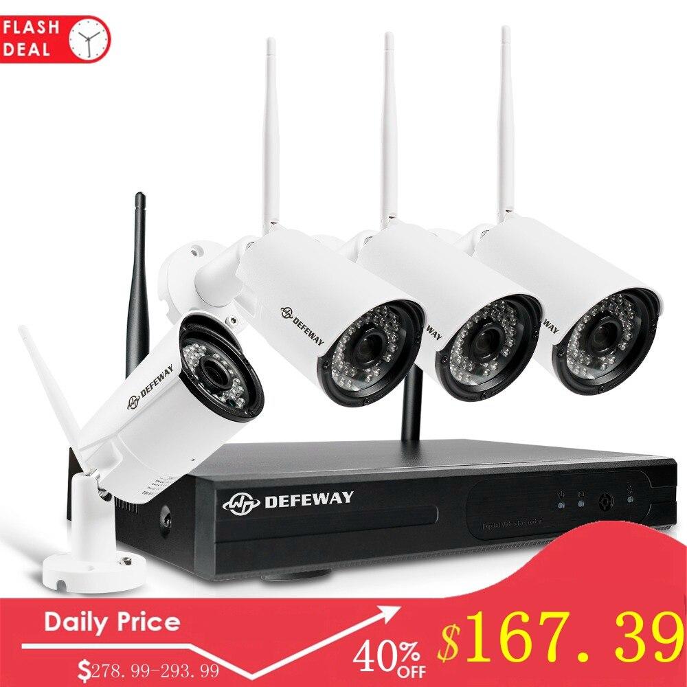 Système de vidéosurveillance Wifi 4CH NVR H.265 + système de vidéosurveillance 1080 P 4 pièces 2MP Kit de vidéosurveillance sans fil pour caméra de sécurité étanche