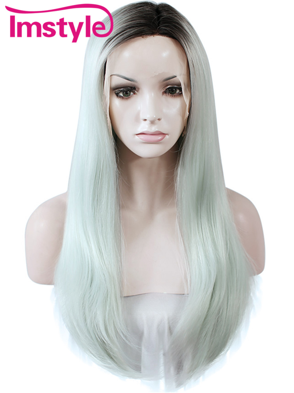 Imstyle Straight side parting Synthetic Dark root mint green Omber 24 Inches long lace front wig