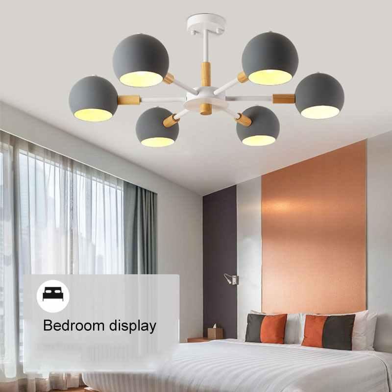 Лампы в скандинавском стиле из твердой древесины Современный минималистичный E27 Светодиодная Люстра для гостиной столовой ресторана спальни кабинета
