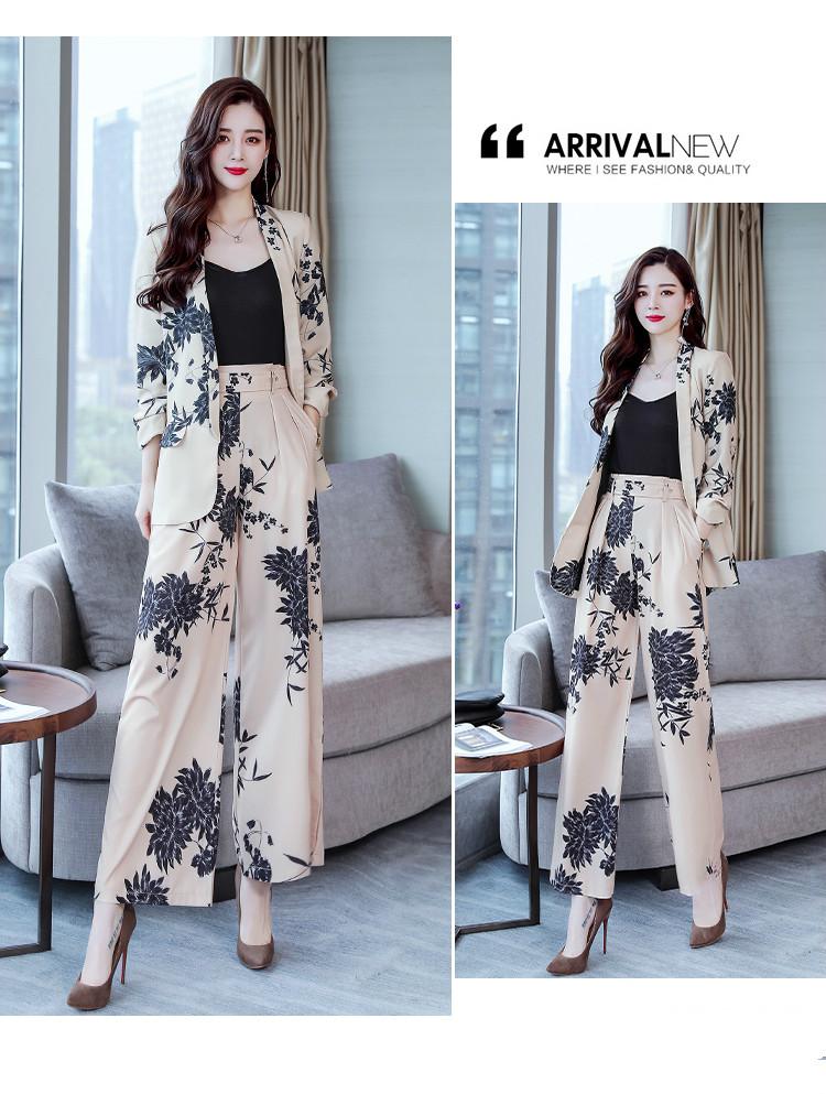 YASUGUOJI New 2019 Spring Fashion Floral Print Pants Suits Elegant Woman Wide-leg Trouser Suits Set 2 Pieces Pantsuit Women 25