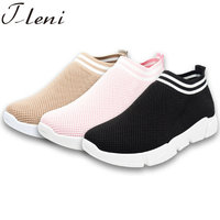 Tleni 2018 new women's sports shoes mesh openwork breathable women black pink sneakers big size 36 42 ZK 115