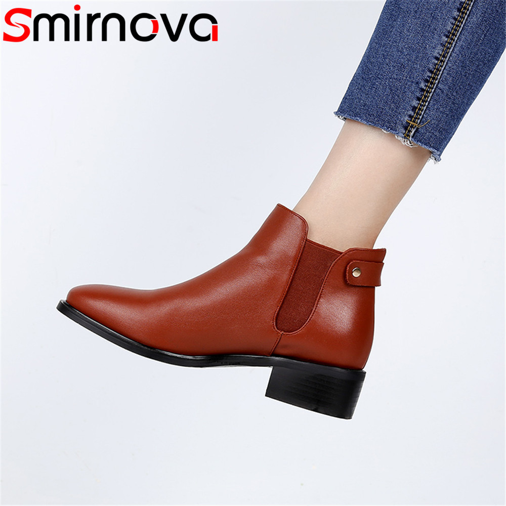 Smirnova 2018 fashion shoes woman square toe casual classic street style women boots genuine leather shoes low heel ankle boots