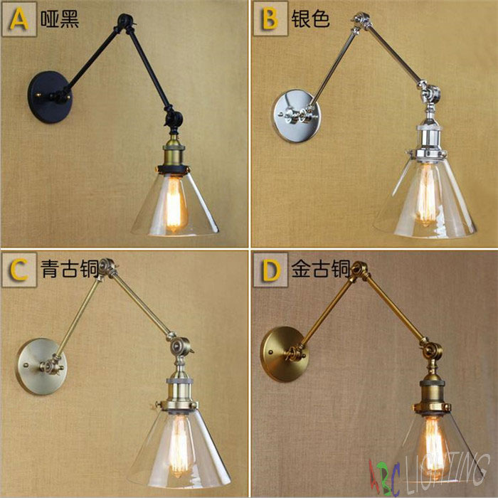 Glass Chrome Wall Light Lamp Mirror Finish Retro Industrial Vintage Edison Bulb lights lampe wall mounted swing arm lights ABCD mordern nordic retro edison bulb light chandelier vintage loft antique adjustable diy e27 art spider ceiling lamp fixture lights