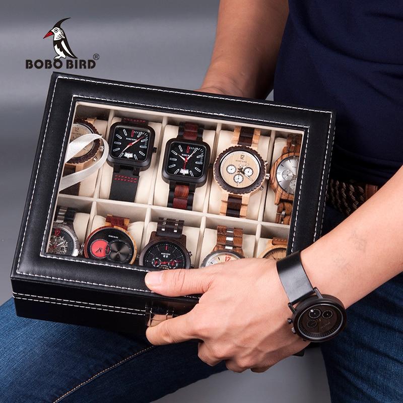 BOBO BIRD Leatherette Wrist Watch Display Box Organizer Storage Box Watch Holder Jewelry Display Case saat kutusu cymii pu leather 10 slot jewelry storage holder wrist watch display box storage holder organizer case watch box gifts