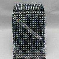 10ヤード18行弾性黒いプラスチックベースss16 4ミリメートルクリスタルabラインストーンメッシュトリム用diy衣装家具バッグアクセサリ