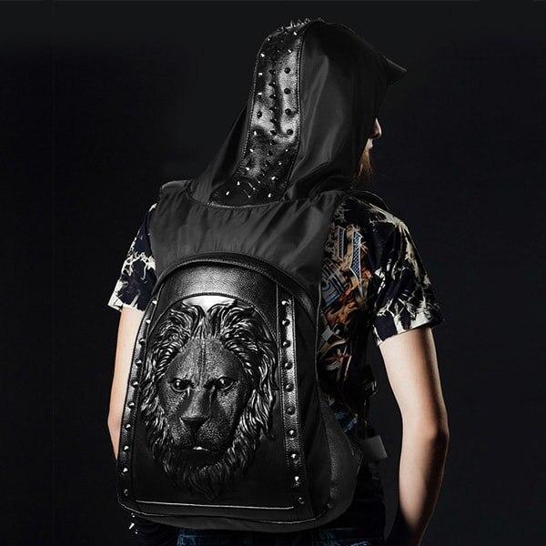 Large Capacity Men Restore 3D Rivets Lion backpack gothic 3D embossed leather Shoulder Bag with Hood