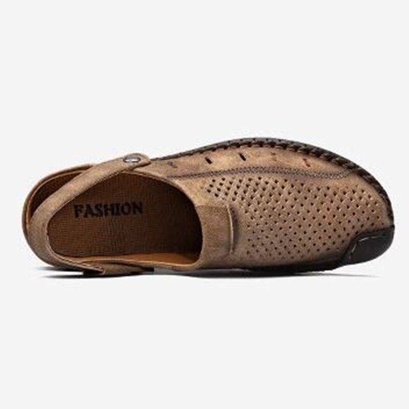 gold Baotou khaki Marca Zxryxgs Couro Verão Moda Homens Sandálias Genuíno Buraco Sapatos Chinelos Novo Casual 2019 Yellow De Preto qTnqad61r
