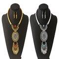 Women Leaf Tassel Rhinestone Pendant Collar Bib Necklace With Earrings Jewelry