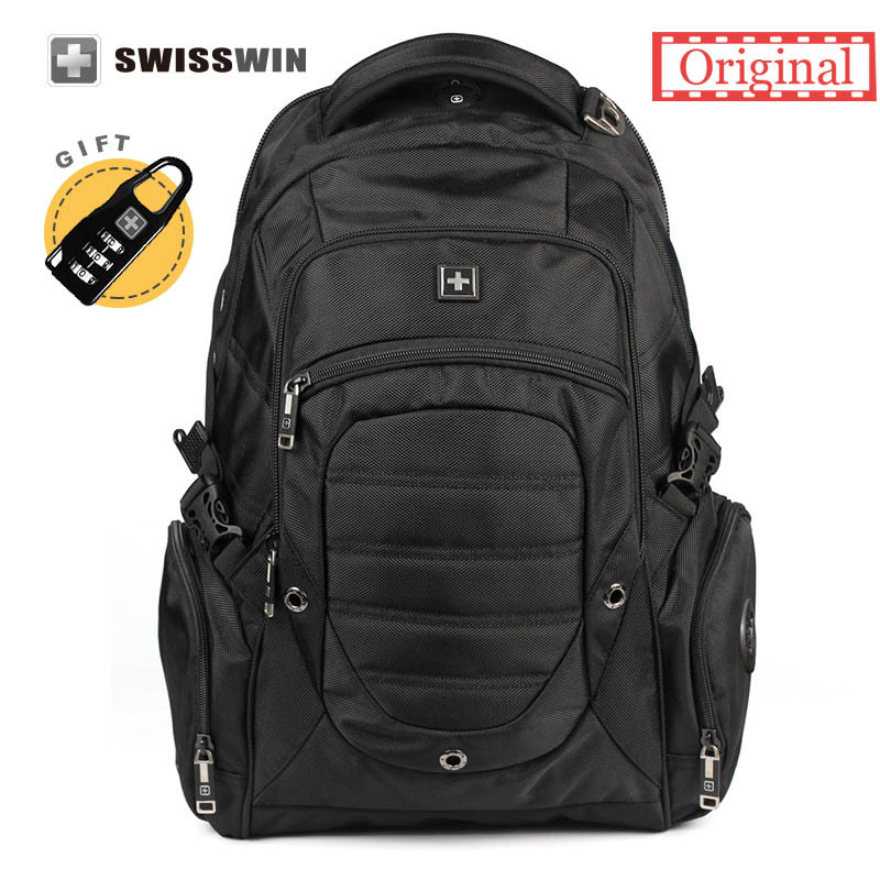 Swisswin Men's Laptop Backpack for 15.6 Large Capacity Waterproof Multi-Pocket Backpack For Business Casual School Bag men backpack student school bag for teenager boys large capacity trip backpacks laptop backpack for 15 inches mochila masculina