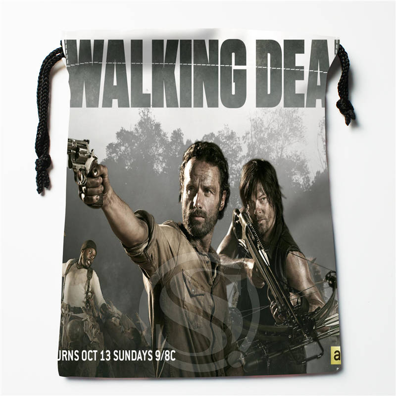 N#S13 New The Walking Dead Custom Logo Printed  Receive Bag  Bag Compression Type Drawstring Bags Size 18X22cm 712&y#S13