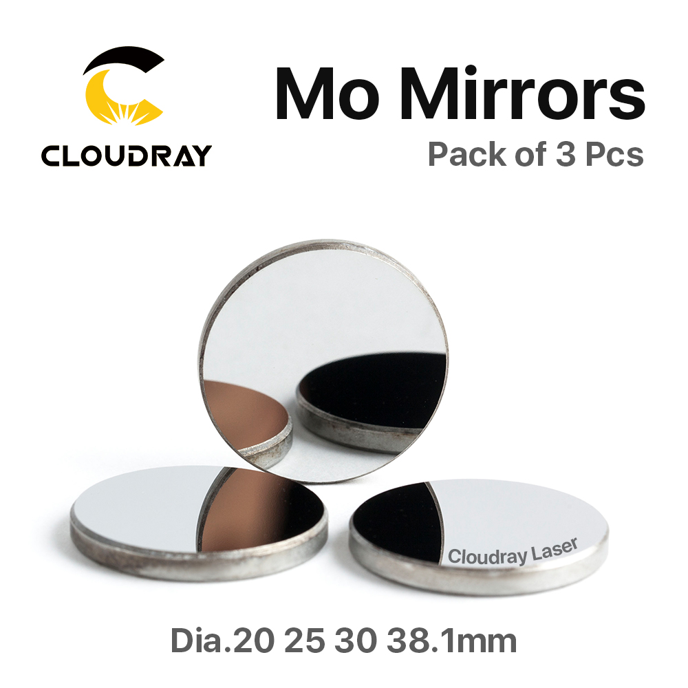 Cloudray High Quality Mo Mirror Dia. 15 19.05 20 25 30 38.1mm THK 3mm for CO2 Laser Engraving Cutting Machine Pack of 1Pcs/3 Pcs