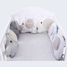6PCS Baby Crib Bumpers Cotton Animal Elephant Infant Bed Soft Protector Newborn Kid Decorative Pillow Cushion Cartoon Bedding(China)