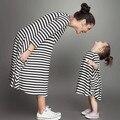 Combinando Mãe Filha Família na Europa e América Do Vestidos de Mãe e Filha Vestidos de Algodão com Listras Macio Elástico