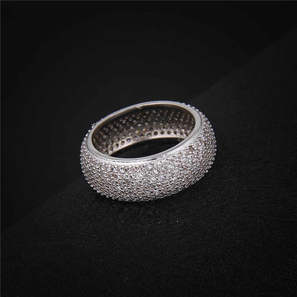 Thời trang nhẫn đối với phụ nữ rhinestone trang sức 925 sterling mảnh trendy wedding phụ kiện đính hôn sức pha lê quà tặng DD196