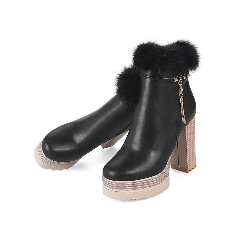 High Kappe Schuhe rosa Sexy Stiefeletten Zipper Smeeroon Schwarzes Stiefel Bequeme Runde Frauen Einfache Winter Frau Heels Plattform 5OaF8