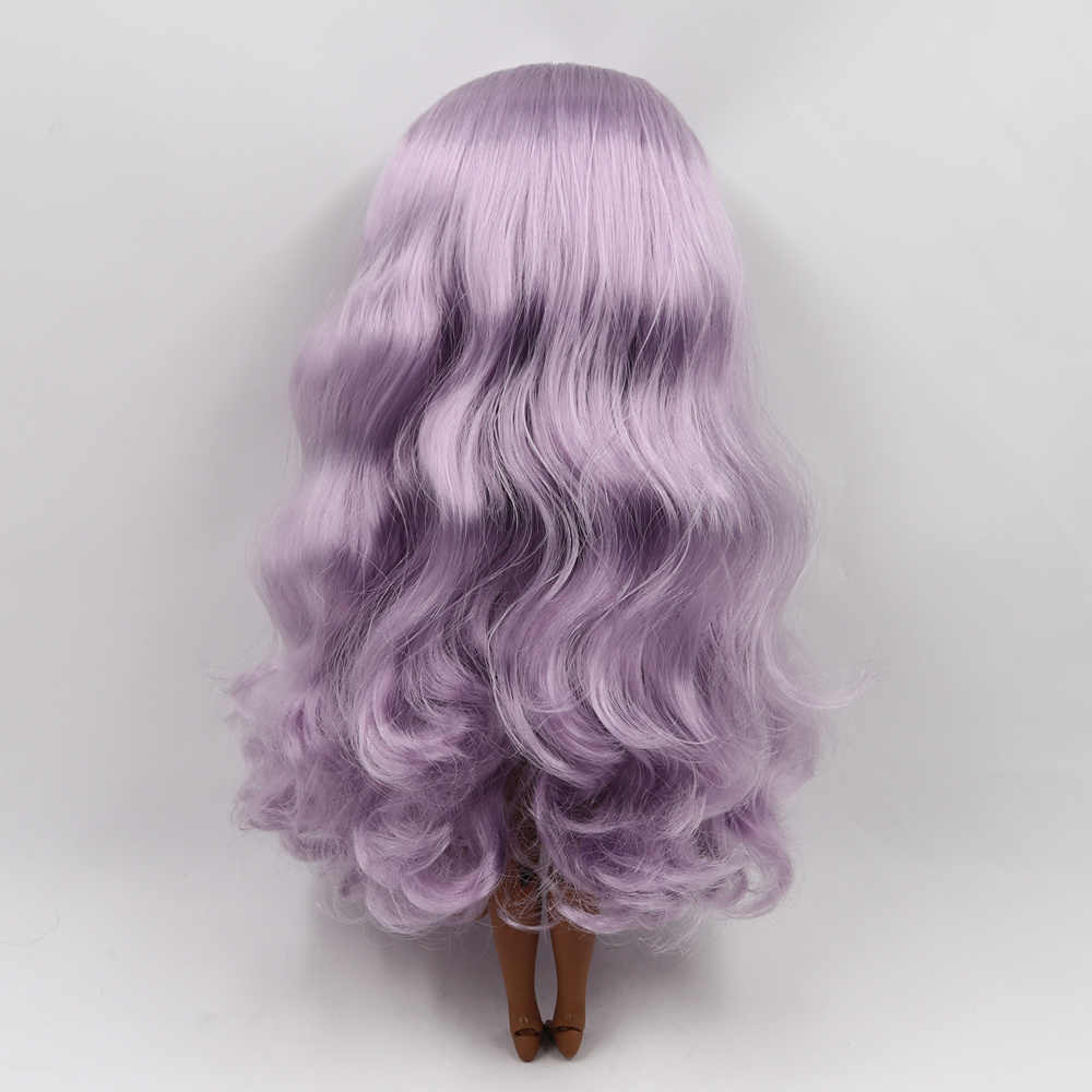 Blyth Telanjang Boneka Sendi Tubuh Elegan Ungu Keriting Rambut Super Kulit Gelap 30 Cm Cocok untuk DIY Dijual Hadiah SD Mainan dengan Tangan AB