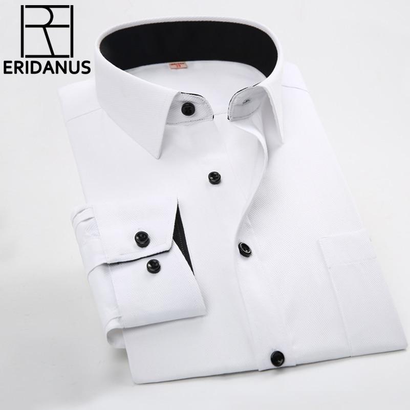 Hombres Camisas de negocios 2016 Nueva Llegada Masculina Delgada Diseñador de Moda Patchwork Cuello negro de manga larga sólido Camisa de Vestir Formal M031