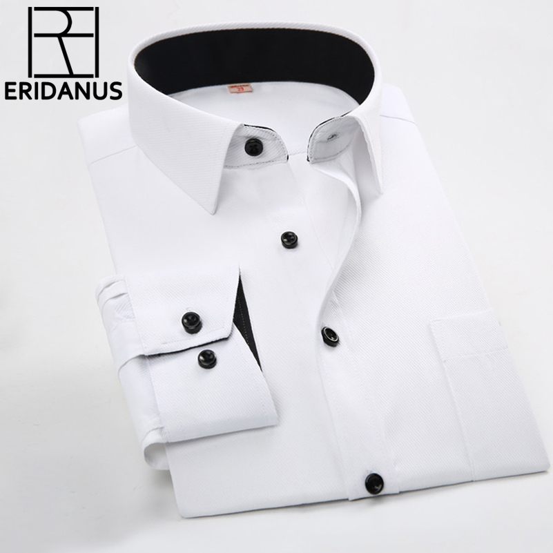 Mannen Zakelijke Shirts 2016 Nieuwe Collectie Mannelijke Slanke Mode-ontwerper Patchwork Zwarte Kraag Lange Mouwen Effen Formele Jurk Shirt M031