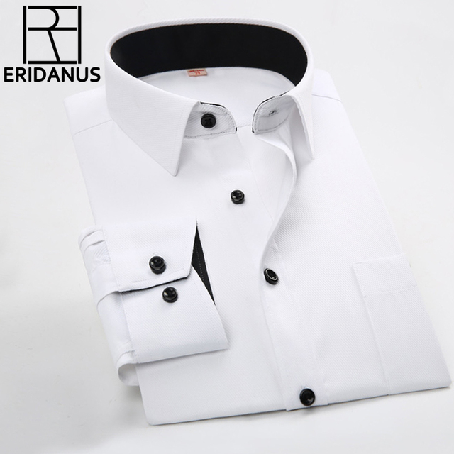 Men Business Shirts 2016 New Arrival Male Slim Fashion Designer Patchwork Black Collar Long Sleeve Solid Formal Dress Shirt M031