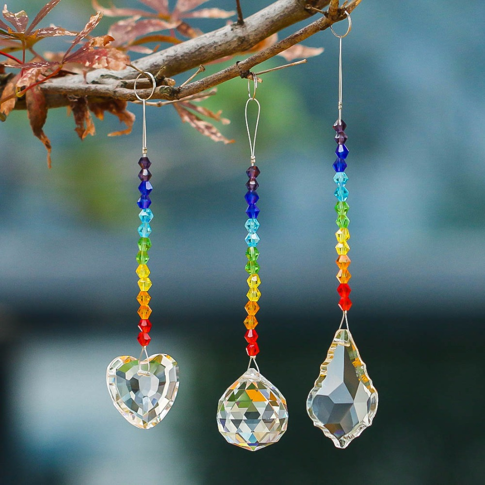 US $8.09 10% OFF|H&D Chandelier Crystals Prisms Rainbow Chakra Suncatcher  with Beads Decorating Hanging Ornament,Set of 3-in Garden Suncatchers from  ...