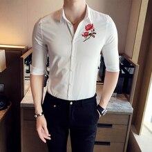 Tuxedo Shirts Men New 2019 Luxury Rose Embroidery Dress Shirt Summer Chemise Homme Social Streetwear Hawaiian