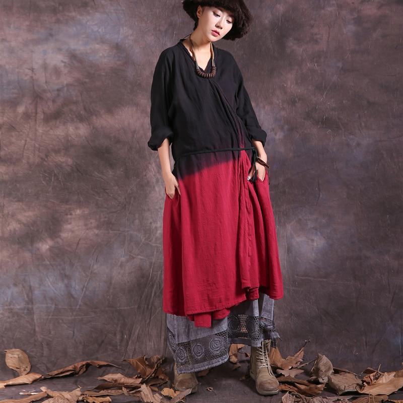 Johnature 2018 Spring Women Tie Dye Long   Trench   Coats New Vintage Cotton Linen Loose Sashes Belt Patchwork Irregular Coats