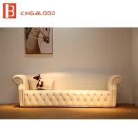 Luksusowe klasyczny salon biała skórzana sofa meble