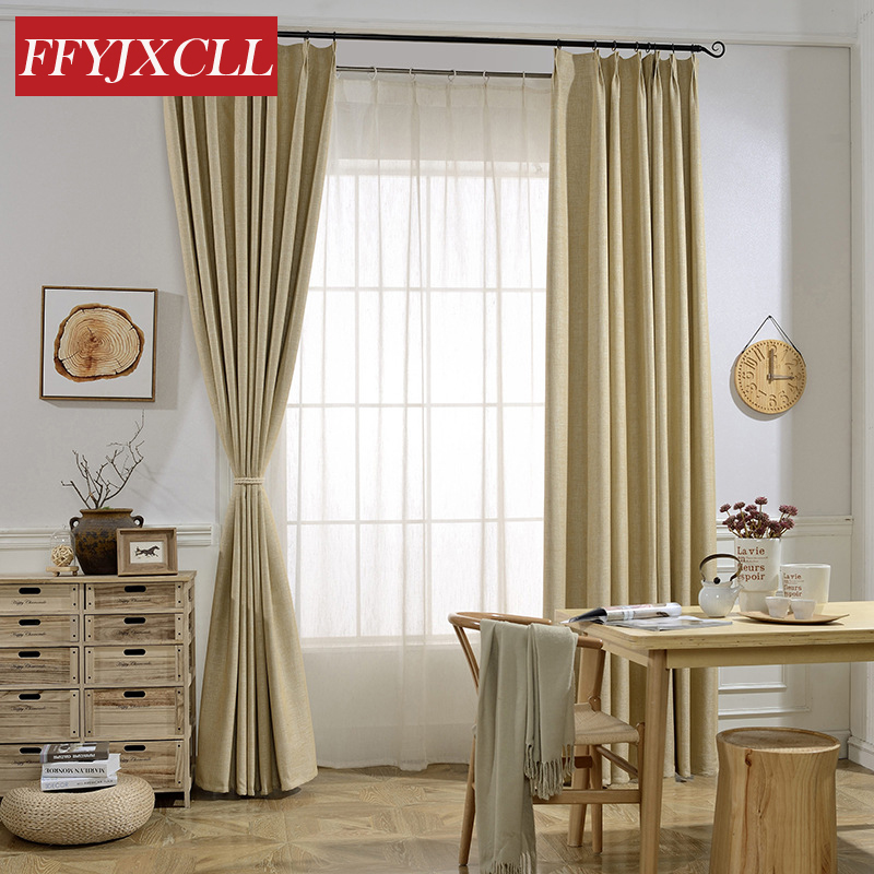 Simple Design Cotton Linen Solid Color Blackout Curtains ...