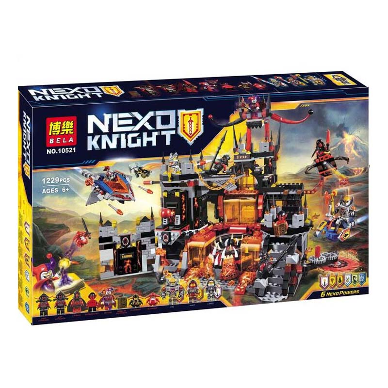 Compatible Legoe Nexus Knights 1237Pcs+ Chevaliers Axl Jestros Volcano Lair Nexo Knights Building Blocks Bricks Toys gifts