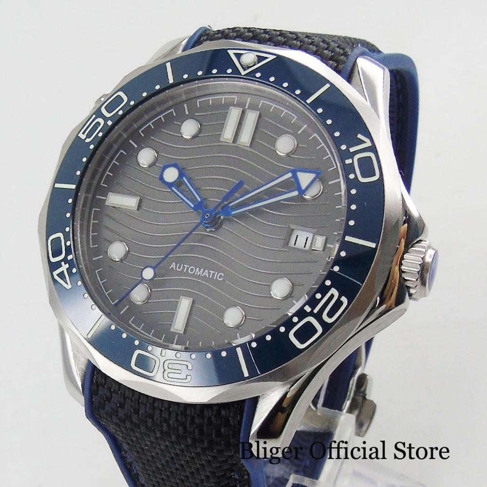 BLIGER Sport Stijl Automatische mannen Horloge Zelfoprollend Beweging Nologo Horloge Gezicht Met Wave Patroon 41mm Tijd Horloge