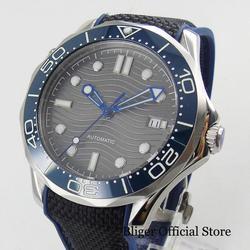 BLIGER Sport styl automatyczny mężczyzna zegarek na rękę własna Winding ruch Nologo zegarek twarz z wzór fali 41mm zegarek