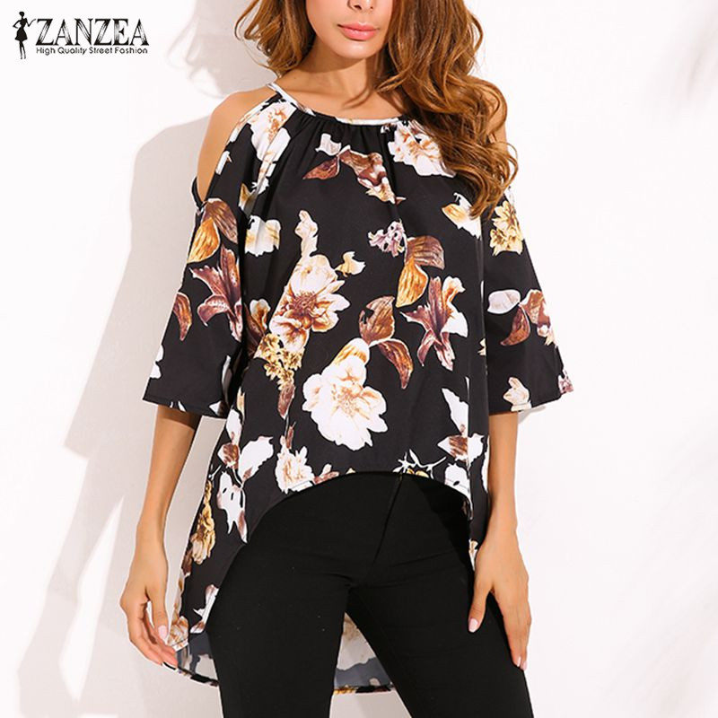 Plus Size 2018 ZANZEA Women Sexy Blouses Shirts Ladies Sexy Off Shoulder 3/4 Flare Sleeve Blusas Tops Elegant Print Pullovers