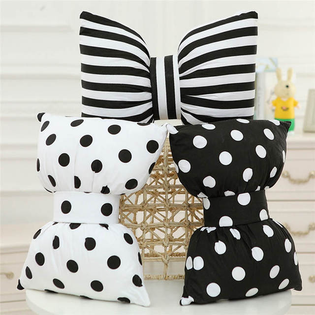 Beautiful Striped Dot Bow Cushion Car Seat Pillow Soft PU Cotton Plush Doll  Home Decorative Throw